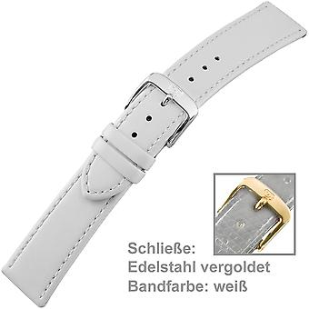 20 mm leather watch strap of ladies white gold plated with stainless steel buckle