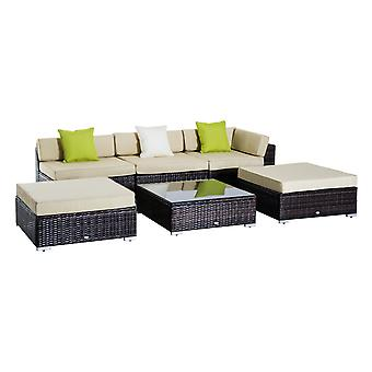 Outsunny 6 PC Rattan Sofa Coffee Table Set Sectional Wicker Weave Furniture for Garden Outdoor Conservatory w/ Pillow Cushion - Brown