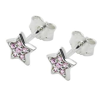 Plug, star with Zircons 925 Silver pink,