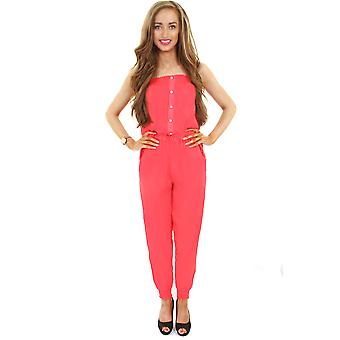 Ladies Strappy Plain elastiek in de taille Stretch Dames Zomer All In One Jumpsuit