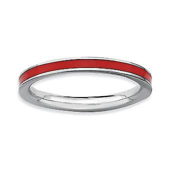 925 Sterling Silver Polished Rhodium plated Stackable Expressions Red Enameled 2.25mm Ring Jewelry Gifts for Women - Rin