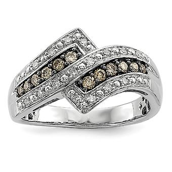 925 Sterling Silver Champagne Diamond Fancy Two Lined Ring Jewelry Gifts for Women - Ring Size: 6 to 7