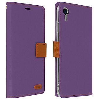 Roar flip wallet case, built-in card slot & stand for Apple iPhone XR - Purple