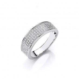 Cavendish franske Sterling sølv CZ bryllup Band stil Ring
