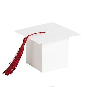 TRIXES 50PC valkoinen miniatyyri valmistumisen puolesta laatikot tupsu sisustus