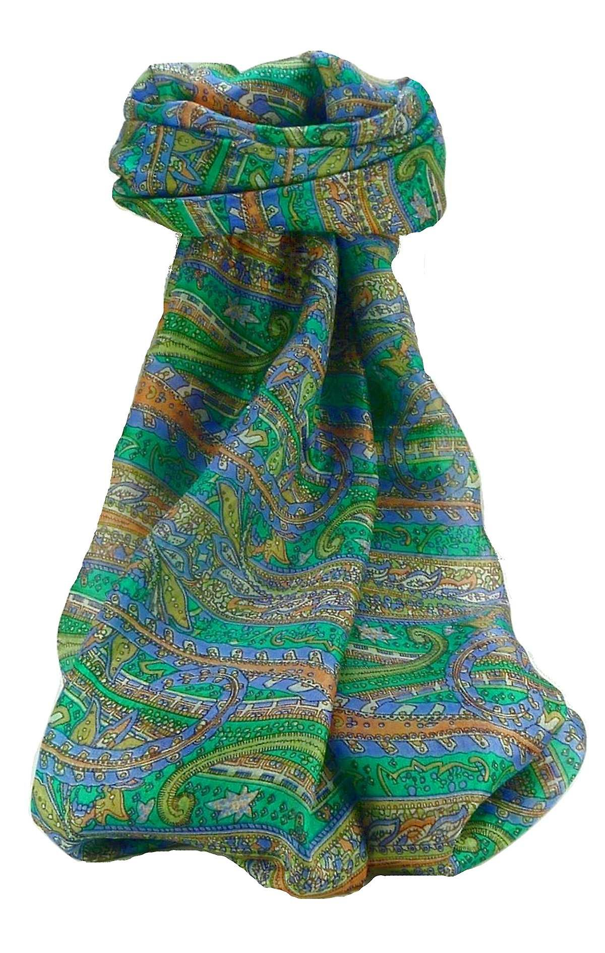Mulberry Silk Traditional Long Scarf Gosthani Emerald by Pashmina & Silk