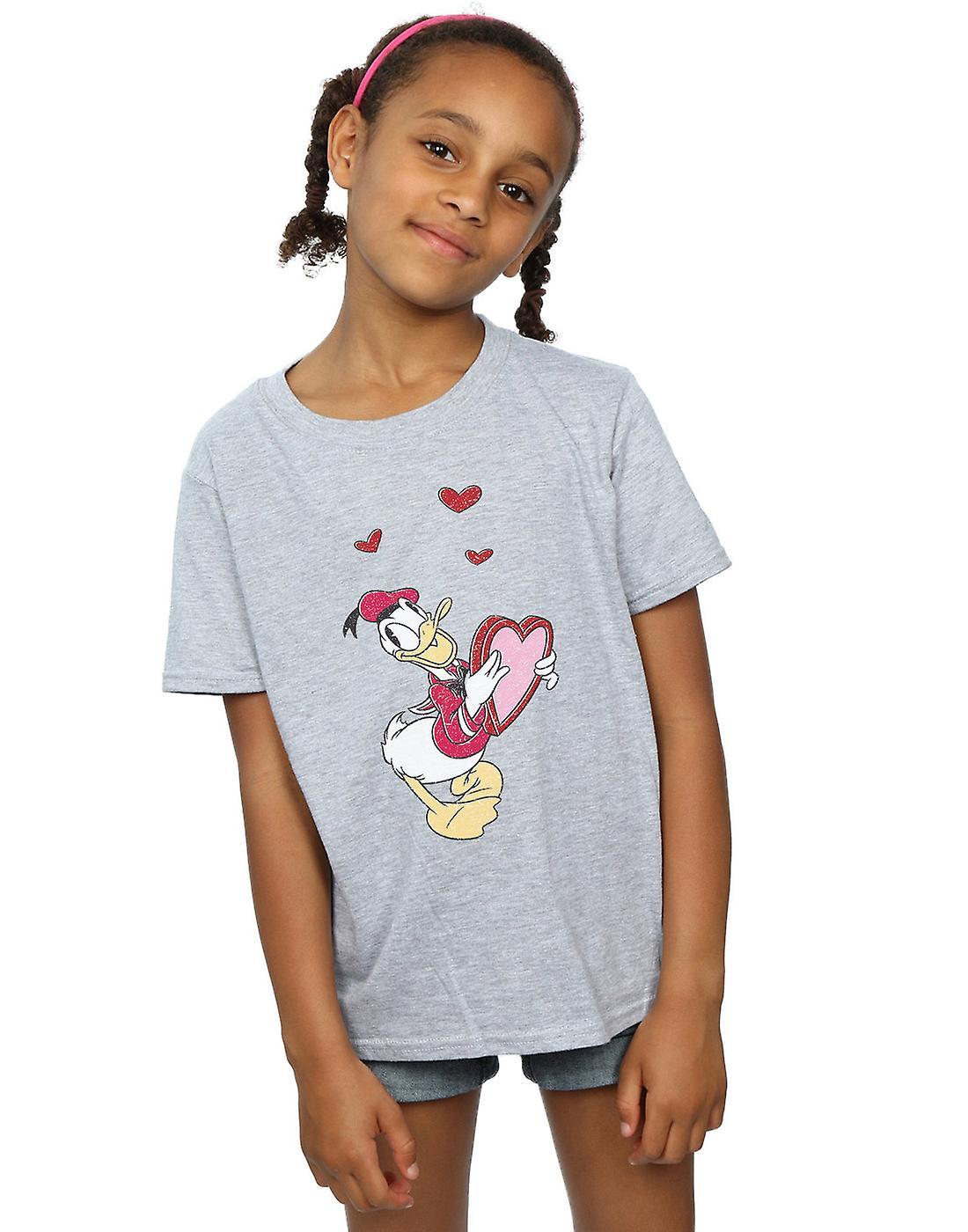 Disney Girls Donald Duck Love Heart T-Shirt
