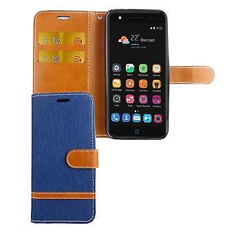 Tasche für ZTE Blade V7 Lite Jeans Cover Handy Schutz Hülle Case Blau