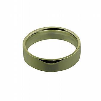 9ct arany 6mm sima lakás bíróság alakú Karikagyűrű méret R