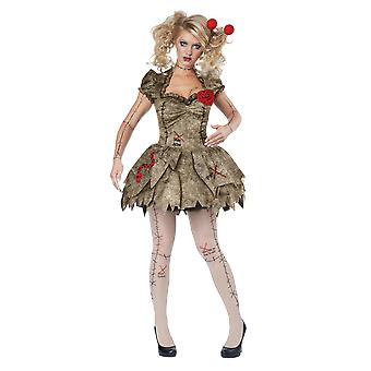 Womens Voodoo Dolly Halloween Horror Fancy Dress Costume
