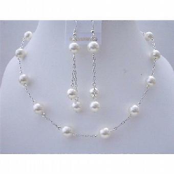 Weiße Perle Hochzeit Schmuck Swarovski handgefertigt Collier-Set