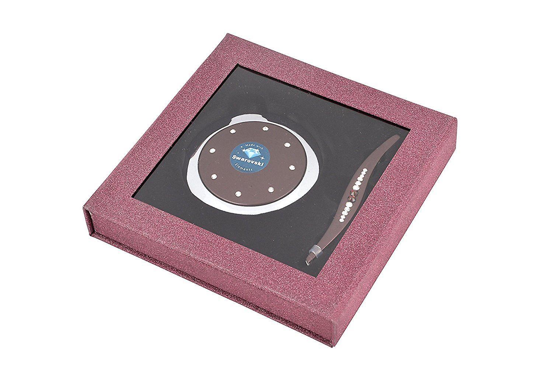 Danielle Compact Mirror and Tweezer Set with Swarovski Elements in Glittery Box - Plum