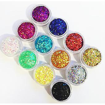 12pcs Popular cans Hexagon glitter