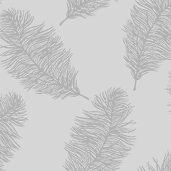 Fawning Feather Grey Silver Metallic Shimmer Wallpaper Feature Wall Holden Decor