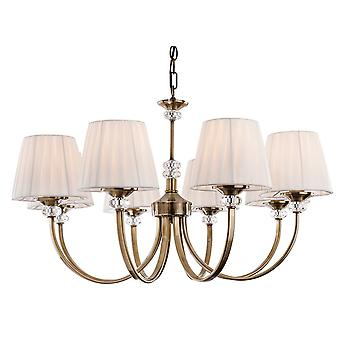 Erstlicht-8 Light Chandelier Antique Brass, Pleated Cream Shades-4864AB