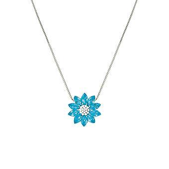 Ewige Sammlung Lotus Türkis österreichischen Kristallsilber Ton Anhänger Halskette