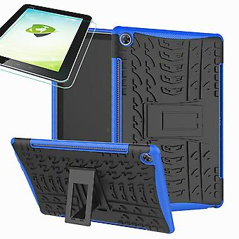 For Samsung Galaxy Tab A 10.1 T510/T515 2019 Hybrid Outdoor Case Blue Bag + 0.3 H9 Protective Glass