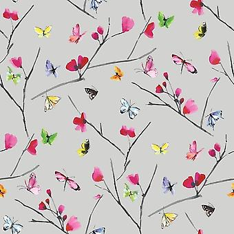 Butterfly Flowers Floral Silver Metallic Wallpaper Pink Orange Green Yellow