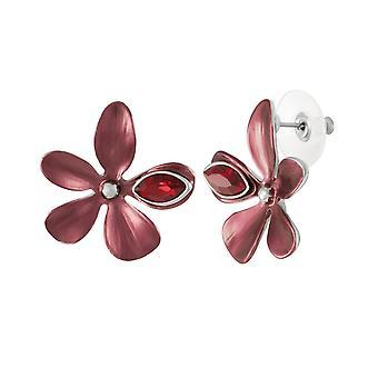 Wieczna kolekcja Bukiet Czerwony Szkliwo i Kryształowy Srebrny Ton Stud Przebite kolczyki