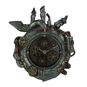 De klok van de muur van Magnum Opus Steampunk stijl met bewegende Gears