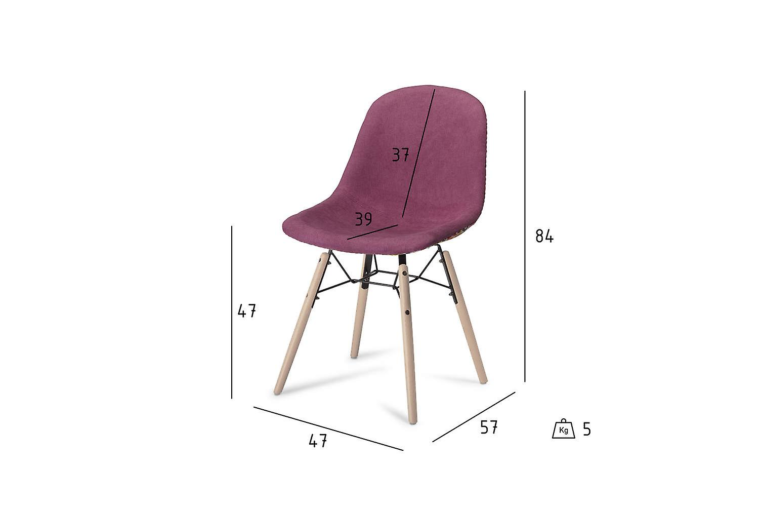 Furnhouse Sun Dining Chair, Pink/Violet, Natural Legs, 47x57x84 cm, Set of 2
