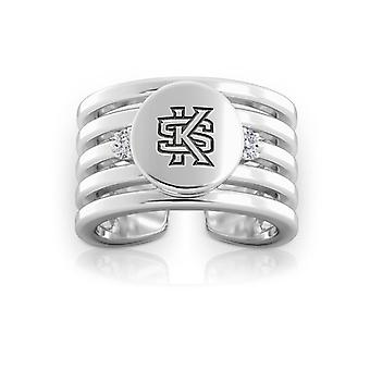 Kennesaw State University Engraved Sterling Silver Diamond Multiband Cuff Ring