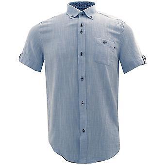 Guia Londres azul floral guarnição de algodão puro manga curta Mens shirt