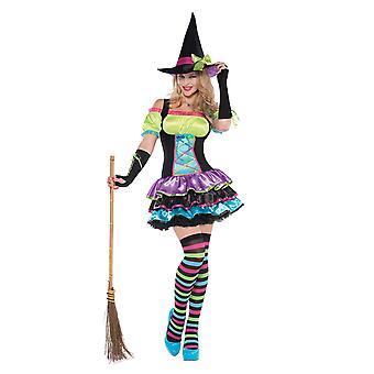 Womens Pop Neon Hexe Halloween Fancy Kleid Kostüm (Größe 8-10)