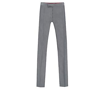 Dobell Mens Silver Grey Trousers Slim Fit