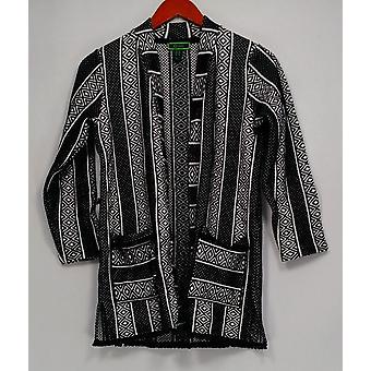 C. Wonder Women's Kimono estilo geométrico impresión punto chaqueta negro A287627