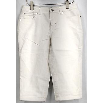 OSO Casuals Jeans Cuffed 5 Pocket Denim Capri White Womens A416203