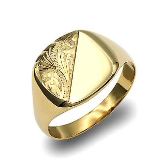 Jewelco London Men's Solid 9ct Yellow Gold Diamond Cut Square Poduszka Signet Ring