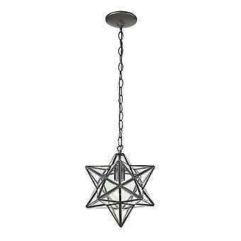 Star 1-light mini pendant in oiled bronze with clear glass - small