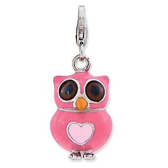 925 Sterling Silver Rhodium plated Fancy Lobster Closure Enameled 3 d Love Heart Owl With Lobster Clasp Charm Pendant Ne