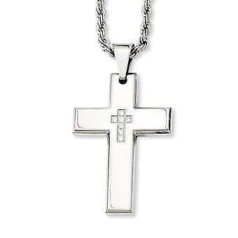 ステンレス鋼研磨ファンシーロブスタークロージャー宗教的信仰クロスCZキュービックジルコニアシミュレートダイヤモンドペンダント2