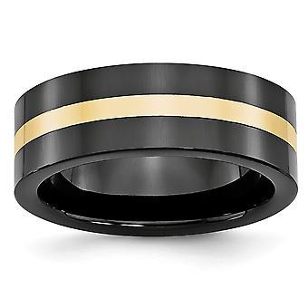 14 k tehtynä 8mm musta keraaminen tasainen bändi kiillotettu yhtye Ring - Ring koko: 8-13