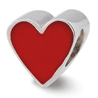 925 Sterling Silver Polished finish Red Enameled Love Heart Reflections Bead Charm Pendant Necklace Jewelry Gifts for Wo