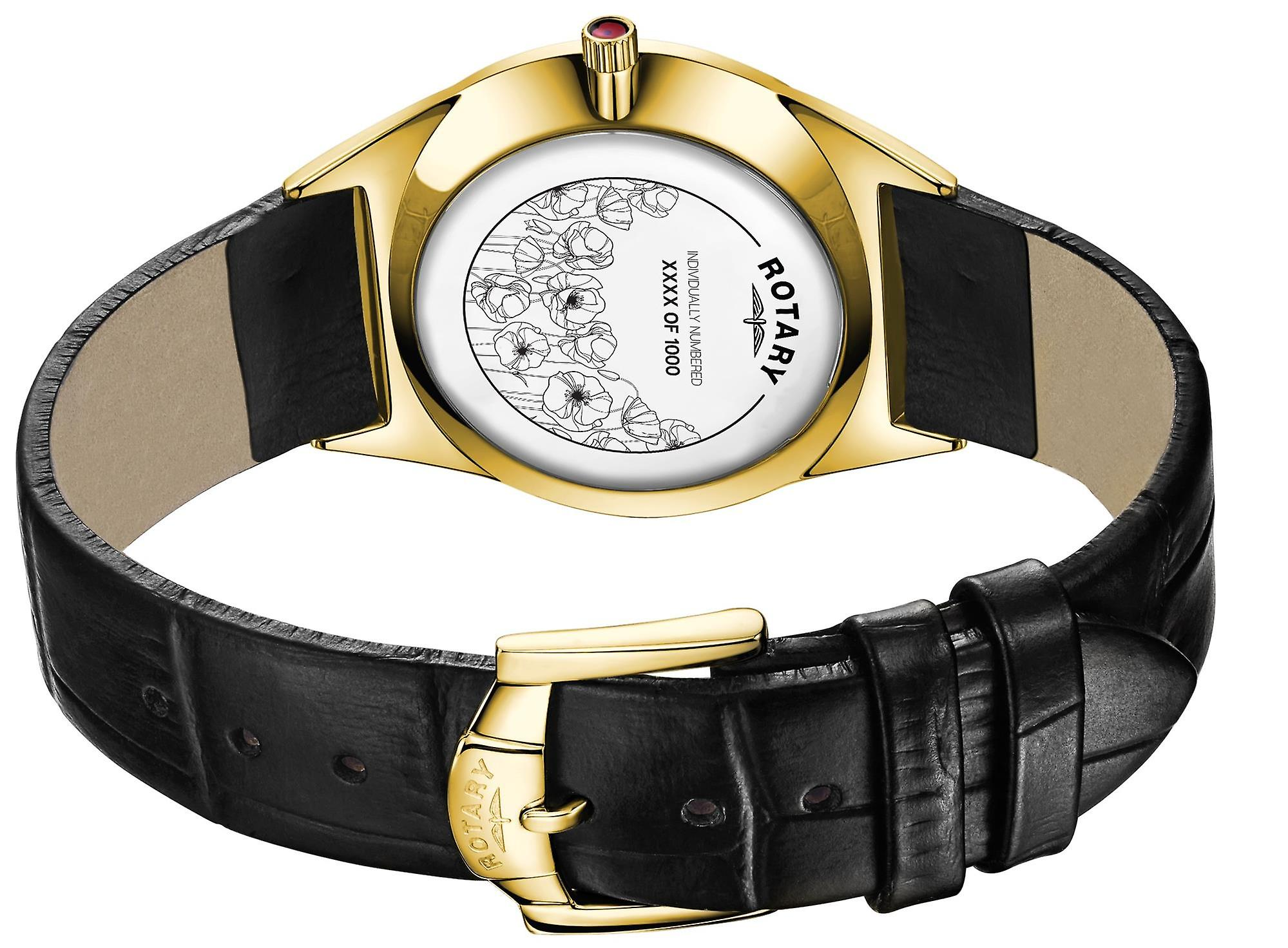 Rotary Limited Edition Poppy Quartz Gold PVD Case Black Leather Strap Mens Watch