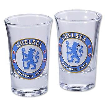 Chelsea FC Two Pack Home Word Mark Shot Glasses