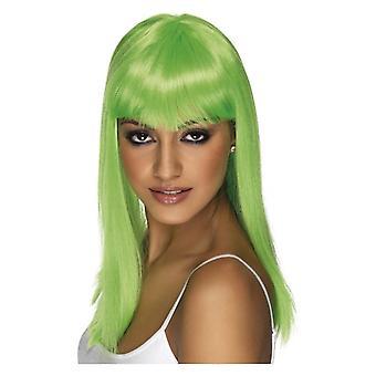 Glamourama pruik, Neon groen, lange, rechte met Fringe Fancy Dress accessoire