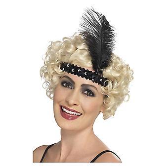 Asszonyok 1920 20s flapper fejpánt fekete díszes ruha kiegészítők