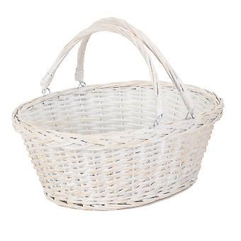 Medium White Swing Handle Wicker Shopping Basket
