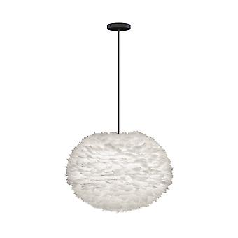 Umage Eos Feather Pendant Shade - White - Large - 65cm With Black Rosette Cord Set