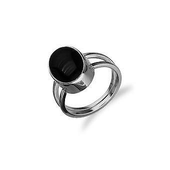 Sterling Silver Traditional Scottish Simply Stylish Black Onyx Stone Design Ring