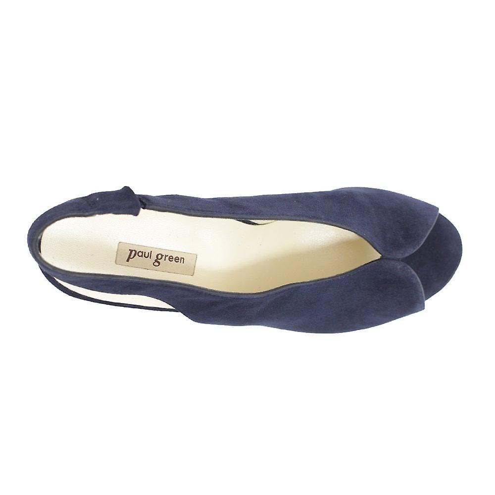 Paul Green 7475-02 Navy Suede Cuir Femme Sling Back Peep Toe Sandals