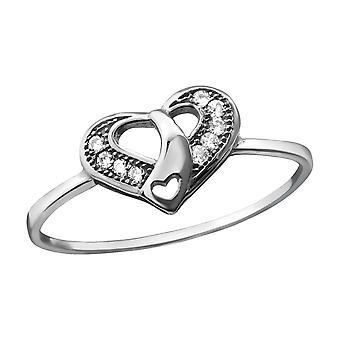 القلب - 925 الجنيه الاسترليني خواتم الفضة مرصع بالجواهر - W23438X