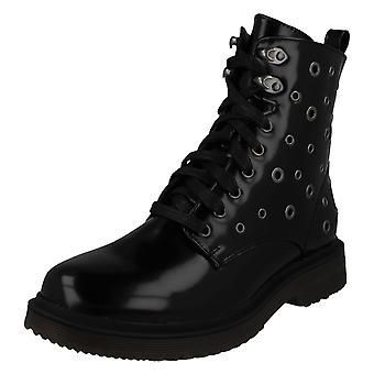 Ladies Spot On Lace Up Boots F51026