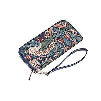 William morris - strawberry thief blue rfid money purse by signare tapestry / lzip-stbl