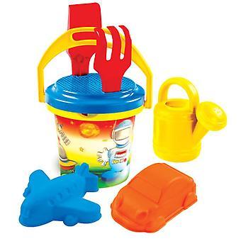 Mochtoys zand speelgoed 10306 emmer zand mallen, zeef, hark, schop, gieter