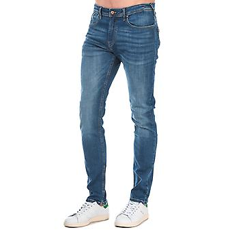 Mens Duck And Cover Overbug Tapered Jeans In Denim- Mid Wash- Zip Fly- 5 Pocket